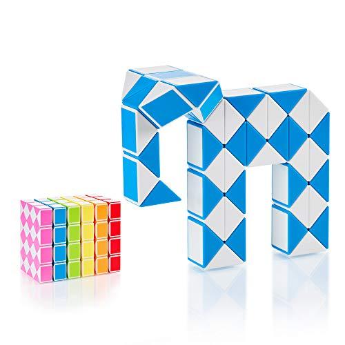 CUBIDI® Magic Snake mit 48 Blöcke - Knobelspiele für Kinder und Erwachsene - ideal als Mitgebsel Kindergeburtstag oder Kindergeburtstag Gastgeschenke oder kleine Geschenke für Kinder (Blau)