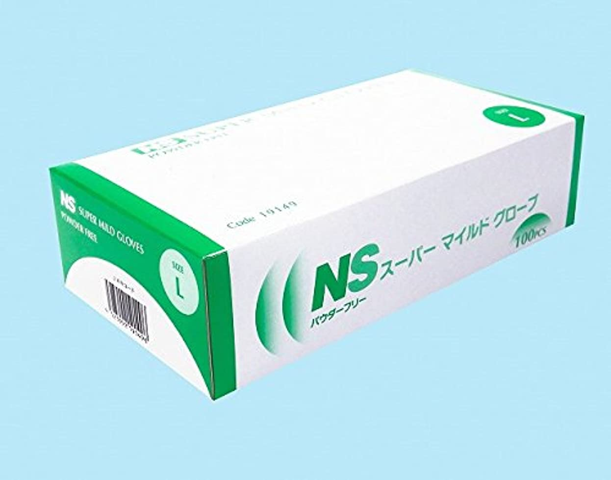 混合糞最近【日昭産業】NS スーパーマイルド プラスチック手袋 パウダーフリー L 100枚*20箱入り (ケース販売)