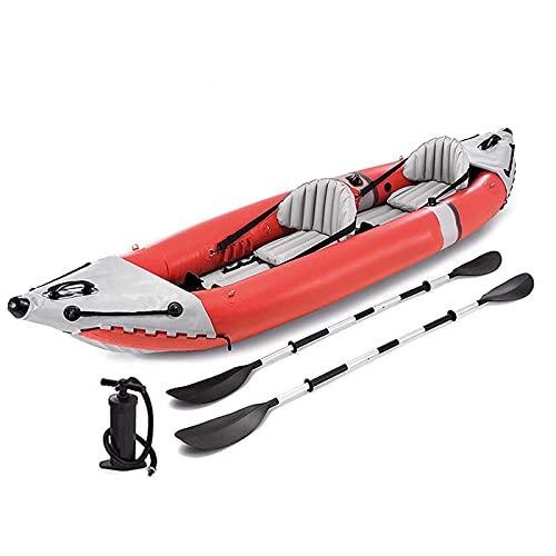 Gaoweipeng 2 Personas Kayak Hinchable Plegable Conveniente Bote Inflable Comodidad Piraguaseguridad Estabilidad Balsa Barco Equipado con Hélice De Aluminio Canoa