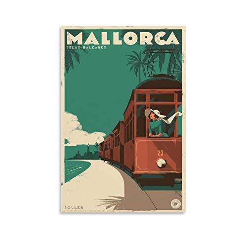 JINYOU Mallorca Vintage Travel Poster Poster Poster Decorativo Lienzo Arte Pared Sala Poster Dormitorio Pinturas 20x30 cm