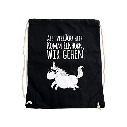 younikat Frecher Einhorn Turnbeutel mit Spruch I ca. 37 x 46 cm I Baumwolle Sportbeutel in schwarz zum Umhängen für Mädchen Teenager Damen I dv_329