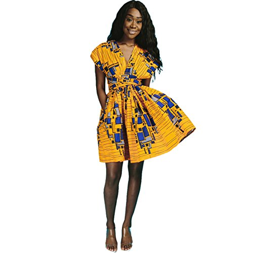 OBEEII Vestido Bohemio de Fiesta Mujer Sin Mangas Dashiki Africano Tradicional Étnico Sexy Multi Way Bandage Dress Ropa de Dama Elegante para Noche Ceremonia Boda Novia Gala Prom S