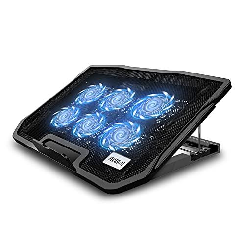 """FUNXUN Base di Raffreddamento PC Portatile, ventole per pc Portatile con Illuminazione LED per Laptop 12-17"""", , doppie porte USB 2.0"""