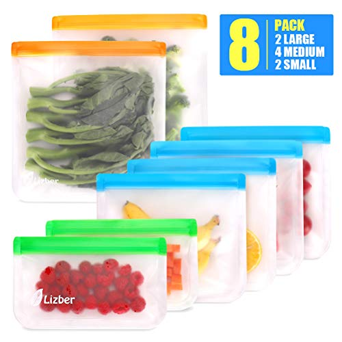 8 Pack, Lizber Reusable Food Storage Bags -$7.49(50% Off)