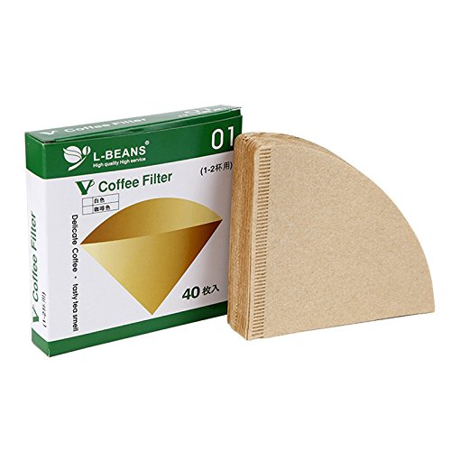 80 PCS Paper Coffee Filter Papierfilter Ungebleicht Original Holz Tropf Papier Kegel Form Kaffee Werkzeuge