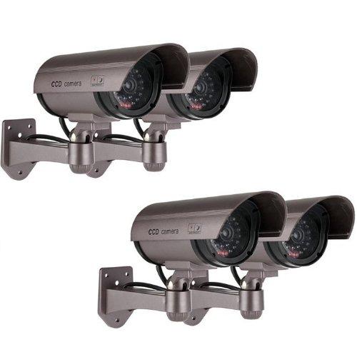 Kabalo 4 x Réaliste Caméra Factice sans Fil, Faux réaliste caméra Factice de sécurité CCTV LED Rouge Clignotante intérieure extérieure Argent