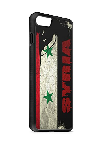Kompatibel mit iPhone 8 Plus + Silikon Handyhülle Flexibles Slim Case Cover Syrien Syria Fahne Flagge Schwarz