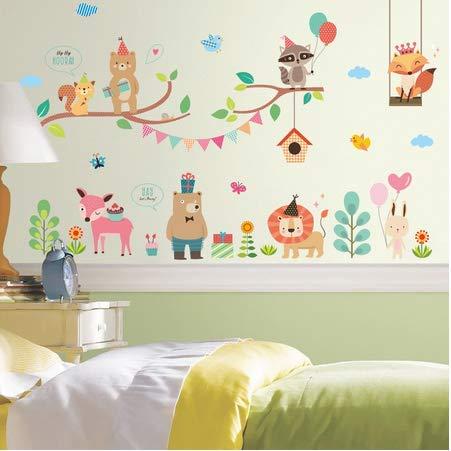 Mooie bos dier muur Sticker Interessante Kids kamer poppenhuis muurschilderingen raamkast kwekerij behang