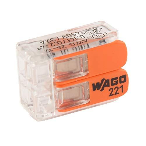 WAGO Borne pour boîte de dérivation 221-412 Flexible: 0.14-4 mm² Rigide: 0.2-4 mm² Nombre de pôles: 2 Transparent, Orang