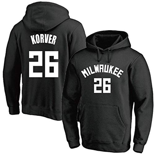 Unisex Jersey Hoodies Hombres NBA Bucks No. 26 Jersey Black Print Pullover Sudaderas de Manga Larga, M