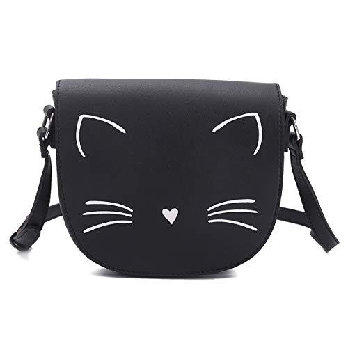 GLADDON Black Crossbody Bags for Teen Girls Small Fashion Preteen Purses Cat