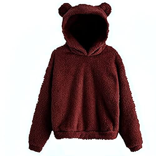 FMYONF Sudadera con capucha para mujer con forma de oso, de forro polar, para otoño e invierno, de manga larga, monocolor, estilo Kawaii, Vino, XL