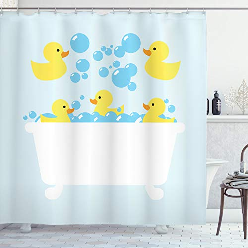 Lunarable Duckies Shower Curtain, Yellow Rubber Poultry Toys Inside a Tub Abstract Cartoon Style Drawing with Bubbles, Cloth Fabric Bathroom Decor Set with Hooks, 75' Long, Yellow Blue