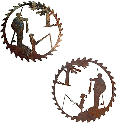 Father's Day Gifts Metal Art Fishing Wall Decor Creative Metal Art Fishing Design Pendant Crafts Father's Day Gift from Daughter and Son Home Garden Decor (Boy+Girl)