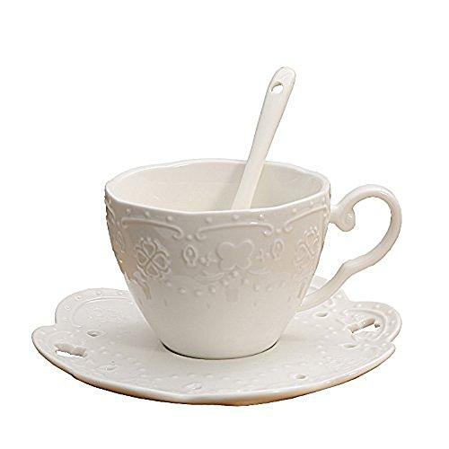YBK Tech Ensemble tasse et soucoupe style européen en porcelaine anglaise avec motif fleurs en relief Blanc