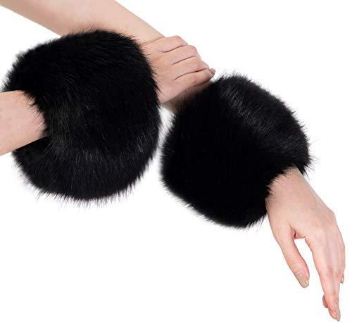 Everkeen - Polsino da donna in finta pelliccia, con anello, in inverno, morbido e accogliente