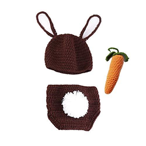 3 piezas de accesorios de fotografía de bebé trajes de ganchillo conejo sombrero pantalones cortos zanahoria infantil foto traje