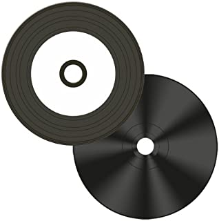 Digital-Vinyl =White Inkjet Hub= Diamond Black Record Surface 52X CD-R's 100-Pak