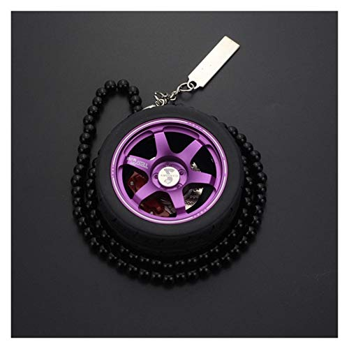 Srfghjs Car decoration Auto Decoration Pendant For Car Wheel Keychain Car Rearview Mirror Hanging Ornament Keyring Pendant (Color Name : T PURPLE)