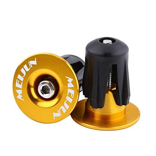 Yosoo Endstopfen für Fahrradstangen, Lenkergriffe für Fahrräder, Endstopfen für Aluminium-Lenkerkappen, BMB-Lenkerendkappen für MTB-Rennräder(Gold)