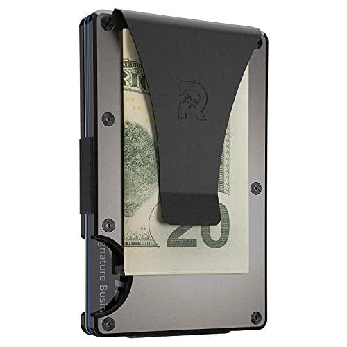 The Ridge Slim Minimalist Front Pocket RFID Blocking Aluminum Metal Wallets for Men with Money Clip (Gunmetal)
