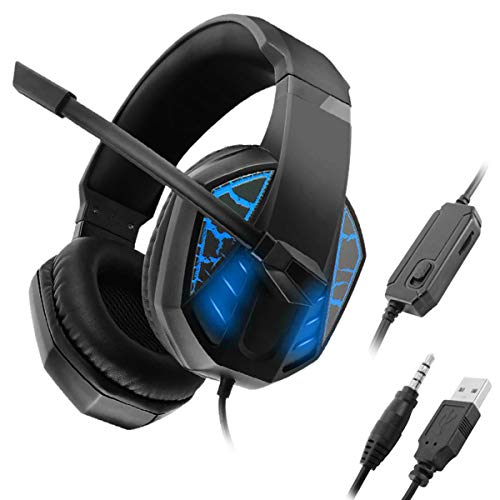DEALPEAK 3.5mm + USB Gaming Headset, Stereo Surround Headphone with Noise-Reduction Microphone and Light Effect for Desktop PC Laptop Computer