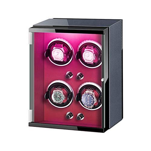 GLXLSBZ Caja enrolladora de Reloj 4 Adaptador de CA automático para enrollar Reloj y Luces de Colores alimentadas por batería Almohadas Ajustables para Reloj (Color: A)