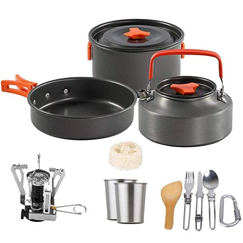 AWCPP Outdoor Camping Kochgeschirr Set Picknick Kochtöpfe Pfannen Set Antihaft Geschirr Mit Herd Löffel Gabel Messer Kessel Küchenwerkzeuge