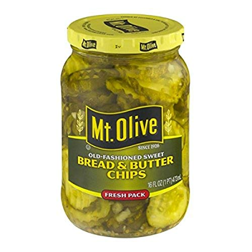 Mt. Olive Bread & Butter Chips Old Fashioned Sweet Fresh Pack Pickles Jar, 16 oz