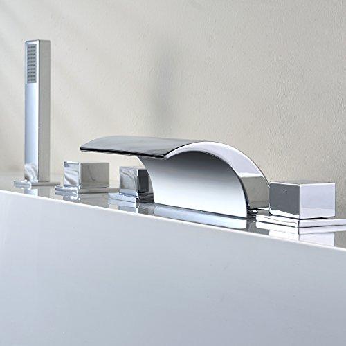 Kinse Duschsystem Wannenbatterie Badewannenarmatur Zeitgenössische 5 Loch-Set Wasserfall Badewanne Wasserhahn Handbrause für Bad Badezimmer
