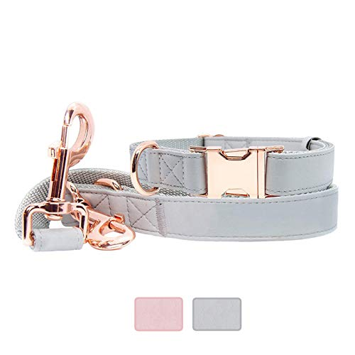 Soft Leather Dog Collar and Leash (6.6') Set - Stylish Rose Gold Heavy Duty Metal Buckle, 3 Adjustable Lengths Leash for Small Medium Large Dogs - Comfortable & Easy to Clean (Grey, L(15.4'-24.8'))