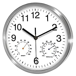 Fzy.bstim Non Ticking Silent Wall Clocks Battery Operated,10 Inch Quality Quartz Analog Wall Clock with Thermometer and Hygrometer,Decorative for Kitchen,Living Room,Bathroom,Office,Garage(White)