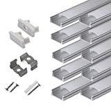 hunhun 10-Pack 6.6ft/ 2Meter U Shape LED Aluminum Channel System with Milky Cover, End Caps and Mounting Clips, Aluminum Profile for LED Strip Light Installations, Very Easy Installation