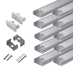 PACKING INCLUDING: Pack of Ten(10) 2m/6.6ft long segments with Cover. Includes 48pcs end caps(24pcs without hole and 24pcs with hole), 50pcs mounting clips, and 100pcs screws(50pcs for woodiness ,50pcs for ceiling) for easy installation. The channels...