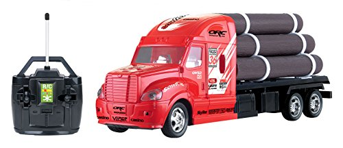 Liberty Imports RC Remote Control Semi Truck Tractor Trailer Flatbed with Logs