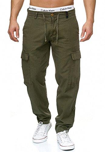 Indicode Herren Leonardo Cargohose aus 55% Leinen & 45% Baumwolle m. 6 Taschen | Lange Regular Fit Cargo Hose Baumwollhose Leinenhose Freizeithose Bequeme Stoffhose f. Männer Army L