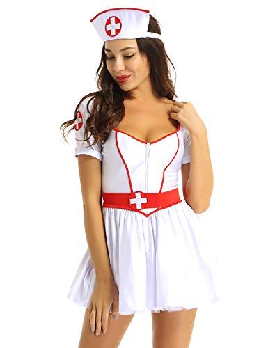 Freebily Damen Krankenschwester Kostüm Sexy Mini Tutu Kleid Lingerie Dessous Babydolls Nachtkleid Pflegeuniformen Halloween Cosplay Rollenspiele Weiß Small