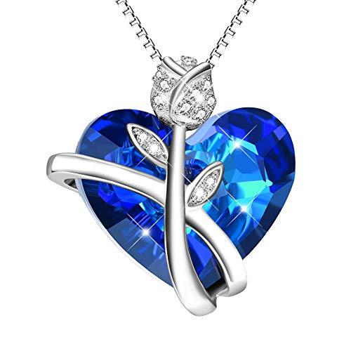 Kette Rose Blume 925 Sterling Silber Herz Halskette Damen Anhänger mit Blauen Kristallen von Swarovski, Hochzeitstag Valentinstag Geburtstag Geschenke für Frauen Freundin Mama