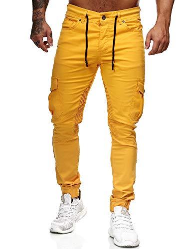 OneRedox Herren Chino Pants   Jeans   Skinny Fit   Modell 3207 (28/32 (Fällt eine Nummer Kleiner aus), Gelb)