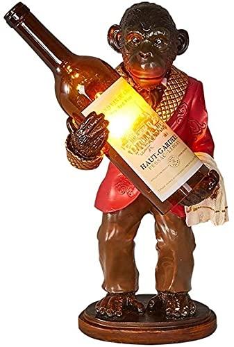BoMiVa Lámpara de Mesa Creatividad Industrial Lámpara de Mesa de orangután Personalidad Mono Lámpara de Mesa Artesanía de Resina Botella de Vino Barra de investigación Dormitorio Lámpara de Vino Moda
