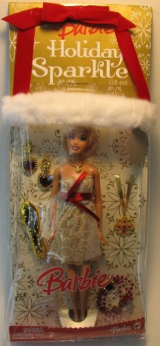 Barbie Exclusivo juego de regalo de medias navideñas – VACACIONES SPARKLE con muñeca Barbie de 30,5 cm de alto en glamour, vestido de vacaciones más collar, pulsera, par de pendientes y cepillo para el cabello para ti