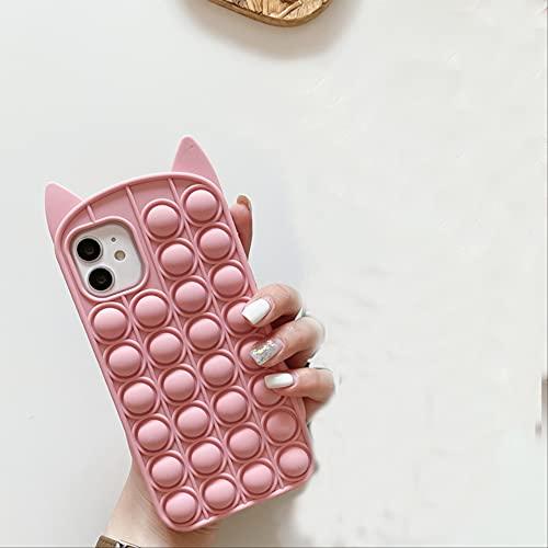 Moda Cute Cartoon Cat Reliver Stress Pop Bubble Funda para teléfono para iPhone 6 6s 7 8 Plus X XR XS Max11 12 Pro MAX Funda para iPhone 6 6s B