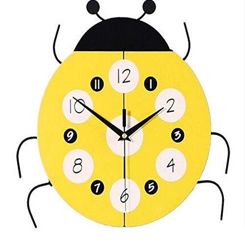Bradoner Reloj de pared creativo simple de dibujos animados reloj de pared de madera para decoración de la habitación de los niños, cuarzo mudo (31 x 31 cm) (color amarillo)