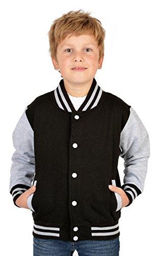 SH-Topshop - Stefan Hohenwarter Coole College Jacke für Jungs mit Rückenmotiv - Weisser Tiger - Sweat Jacke - Farbe: schwarz