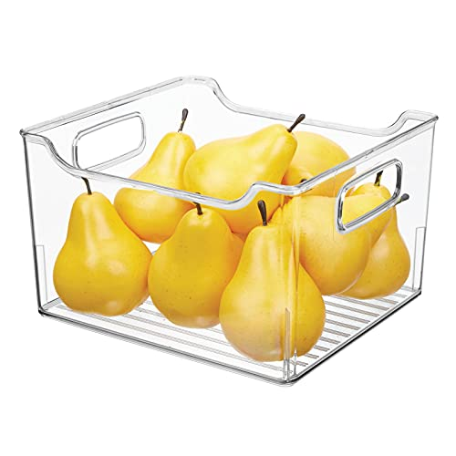 mDesign Caja para nevera con asas – Organizador de frigorífico alto para almacenar alimentos – Contenedor transparente de plástico para el armario de la cocina o la nevera – transparente