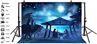Baocicco 7x5ft Backdrop for Jesus Christ Theme Photography Background Nativity Birth of Jesus Twinkle Stars Desert Coconut Tree Holy Lights Portraits for Children Baby Photo Studio Props