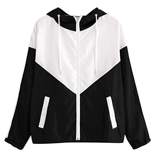 TUDUZ Damen Langarm Hoodies Patchwork Dünne Skins Suits mit Kapuze Reißverschluss Sport Mantel Outwear Windjacke (M, S2-Schwarz)