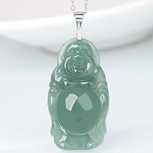 JIUXIAO Bracelets For Women,Feng Shui Wealth Jade Pendant Necklace Natural Jadeite Jade Laughing Buddha Maitreya Buddha Pendant Necklace Ice Jade Silver Clip Clasp Silver Chain Necklace Amulet Ward