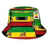 Unisex Outdoor Bucket Hats Wide Brim Sun Protection Fisherman Caps with Rastafarian Reggae Rasta Style Camo Camouflage Patterns