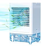 Portable Air Conditioner, Built-in 5000mAh Rechargeable Battery, 800 ML Water Tank, Personal Air Cooler with 3 Wind Speeds, 1/2/4/8H Evaporative Air Cooler for Home Office Bedroom